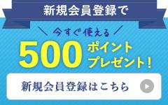 会員登録で500ポイントプレゼント!
